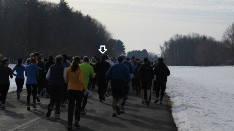 The only picture of me taken during the race...