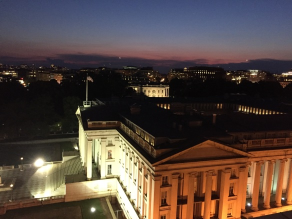 Treasury in the foreground, White House in the back